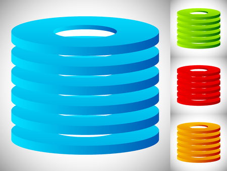 stratum: Abstract cylinder  barrel icon in 3 color. Stacked rings.