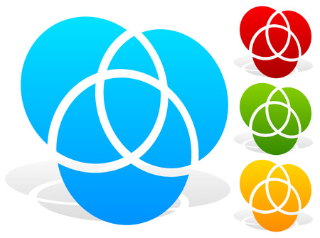 segmented: Overlapping circles icon - Contour of 3 overlapping, intersecting circles