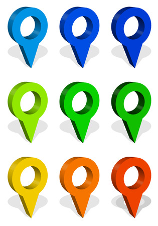Map marker, map pin icon set in 9 colors Illustration