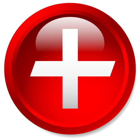 Medical, healthcare, first-aid plus, cross icon. Glossy circle button with cross. Illustration