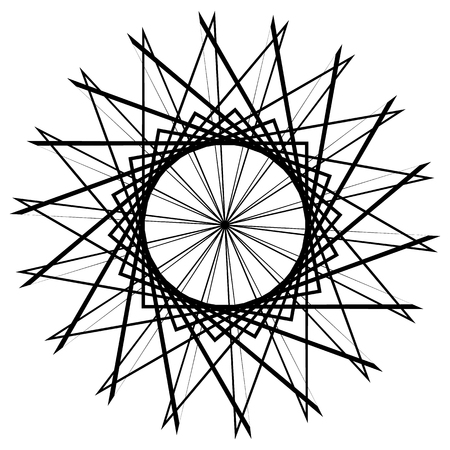 centric: Circular geometric element, abstract motif, mandala isolated on white