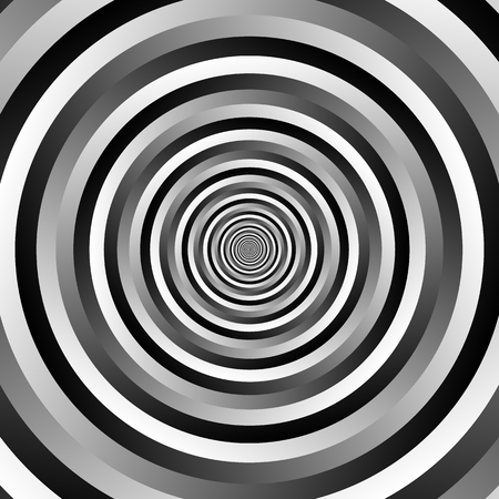 epicentre: Ripple pattern with concentric circles. Grayscale circular geometric background. Illustration