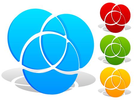 Overlappende cirkels icon - Contour van 3 overlappende, snijdende cirkels Stock Illustratie