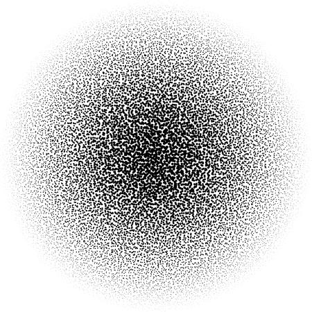 Chaotic pointillist (half-tone) circle pattern. Random dots. Ilustração