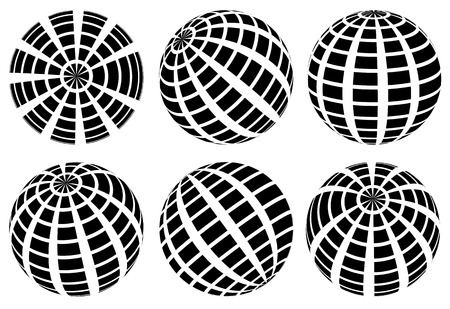 Sphere with grid of squares  Textured 3d sphere icon(s) Illustration