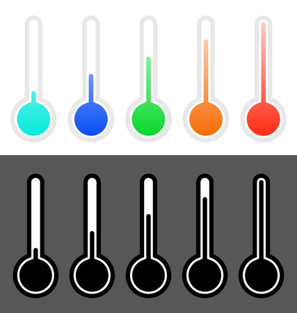 Thermometers in set from cold to hot
