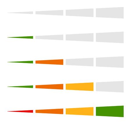 Level indicator, progress bar element in set Illustration