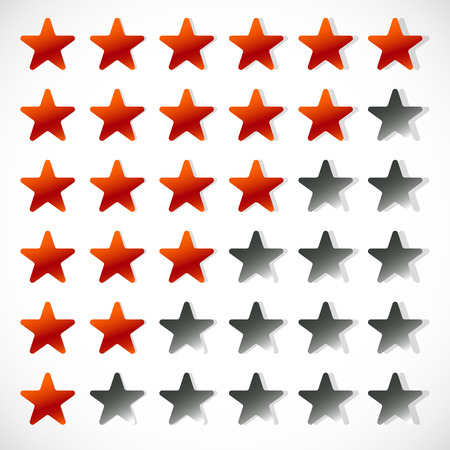 hotel reviews: Star rating with 6 stars - Rating, feedback, rating concept Illustration
