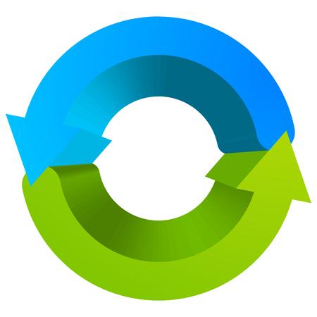 cíclico: Azul y verde símbolo de flecha circular  icono