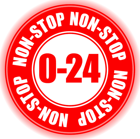 0/24, non-stop kantooruren openingstijden kenteken, knoop Vector Illustratie