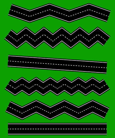 serpentines: Set of wavy road elements with dashed lines (Straight version is repeatable) Illustration