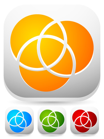 intersecting: Overlapping circles icon - Contour of 3 overlapping, intersecting circles