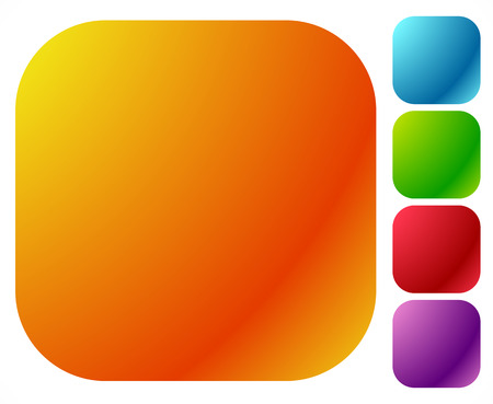 blank button: Button shapes, backgrounds in 5 bright glossy color