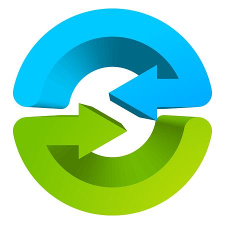 recycling center: Blue and green circular arrow symbol  icon