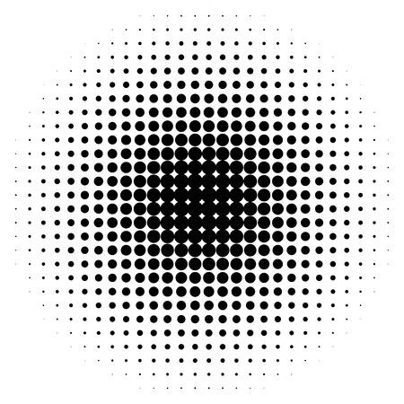 Círculos de semitono, puntos de semitono patrón. Monocromo de medio tono