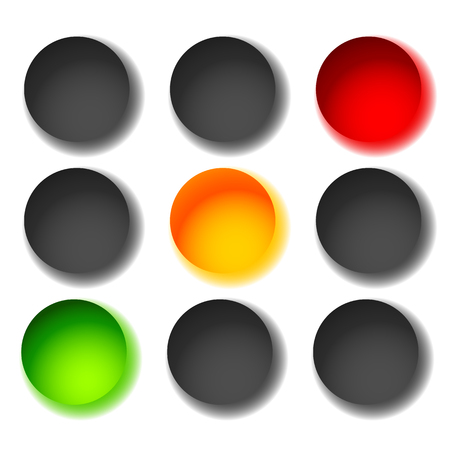 backlog: Traffic light icons isolated on white. Green, yellow, red light icons. Traffic lamps, semaphores.