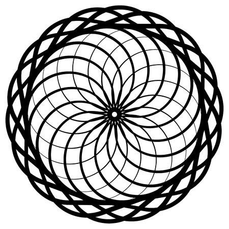 Circular geometric element, abstract motif, mandala isolated on white
