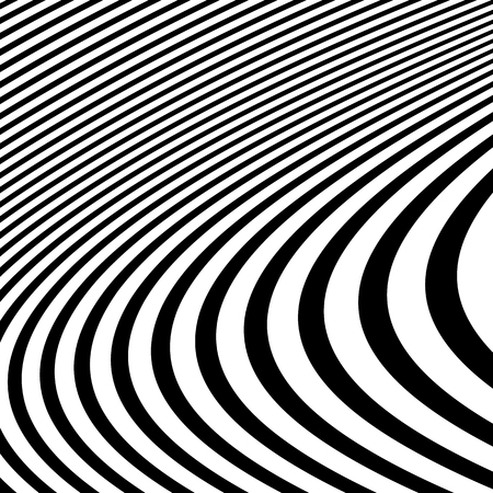 undulating: Distorted abstract monochrome pattern of asymmetric  irregular lines