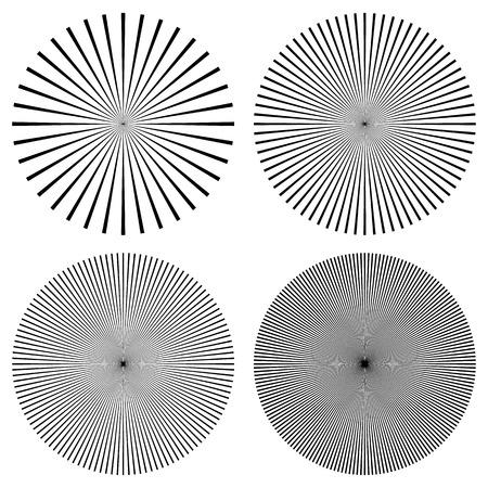 líneas radiales, rayos, vigas patrón circular. Resplandor solar, starburst con líneas irregulares concéntricos