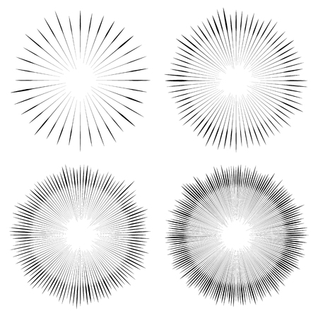 greyscale: Abstract circular element, radial lines shape. Geometric element. Illustration