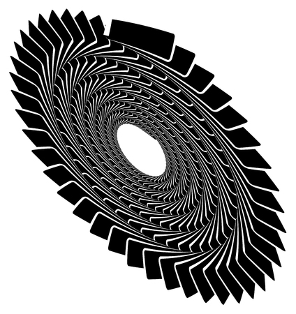 Circular geometric spiral, volute element. Rotating radial shape Illustration