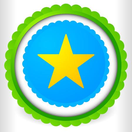 cockade: Blank badge, rosette, cockade icon with yellow star shape