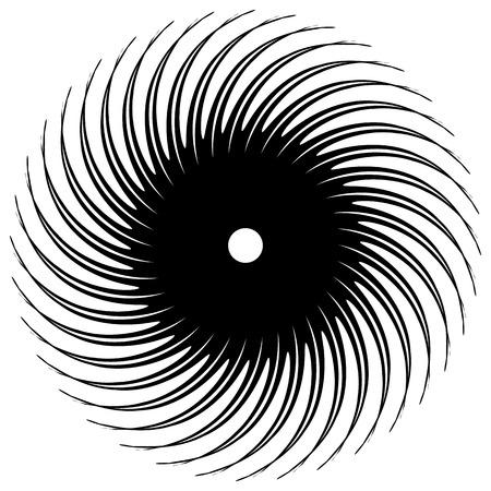 Abstract circular element, radial lines shape. Geometric element. Illustration