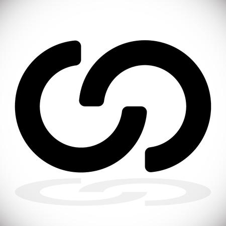 Interlocking circles, interlocking rings as abstract connection, symbiosis, integration icon Vectores
