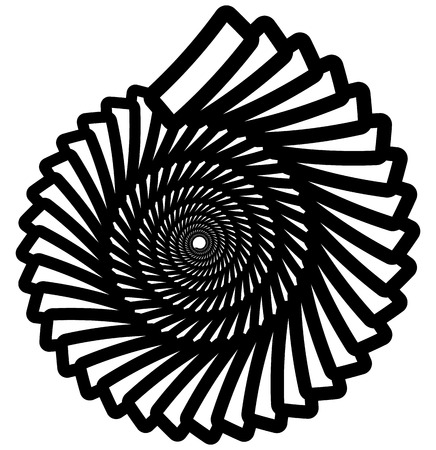 curl whirlpool: Circular geometric spiral, volute element. Rotating radial shape Illustration