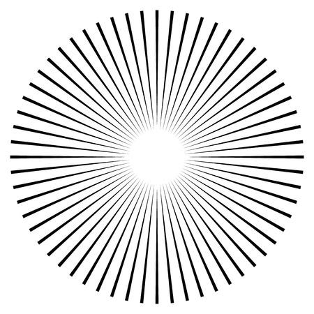 Raggi, travi elemento. Sunburst, forma starburst su bianco. Radiante, radiali, linee fusione. Abstract forma geometrica circolare.