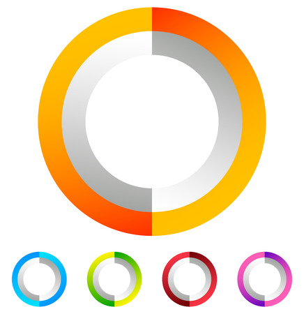 blue circle: Segmented circle generic abstract icon, circular geometric  in 4 colors. Illustration