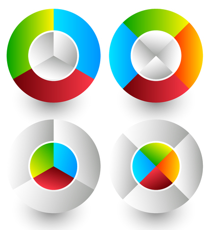 segmented: Pie chart, pie graph icons. Analytics, diagnostics, infographic icons. Colorful segmented circle elements. Divided circles in 3 and 4 parts with 2 version Illustration