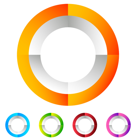 Segmented circle generic abstract icon, circular geometric  in 4 colors. Illustration