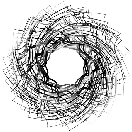 whorl: Spirally abstract geometric element - Artistic monochrome illustration Illustration