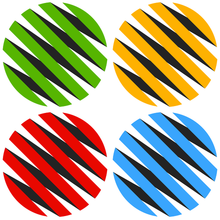 Striped 3d spheres, orbs. Sphere icons, abstract sphere  .