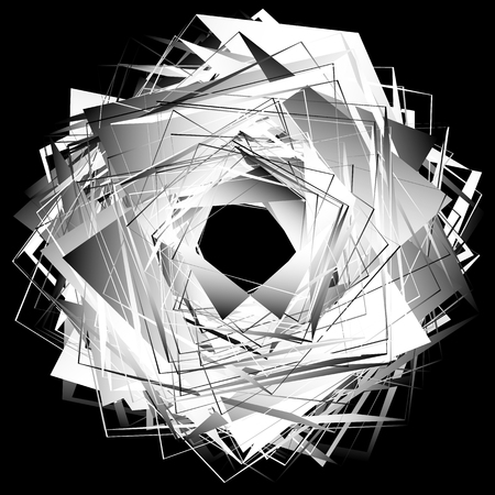 Spirally abstract geometric element - Artistic monochrome illustration Illustration