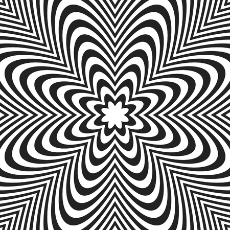 pucker: Concentric lines with distortion. Radial lines, radiating pattern with deformation effect