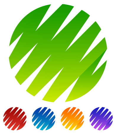 crisscross: Zigzag, crisscross lines forming circle shapes. Green, red, blue, yellow, purple circle shapes Illustration
