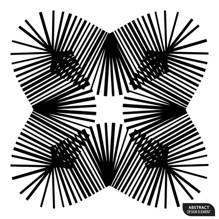 Geometric element made of lines. Abstract monochrome shape isolated on white Illustration