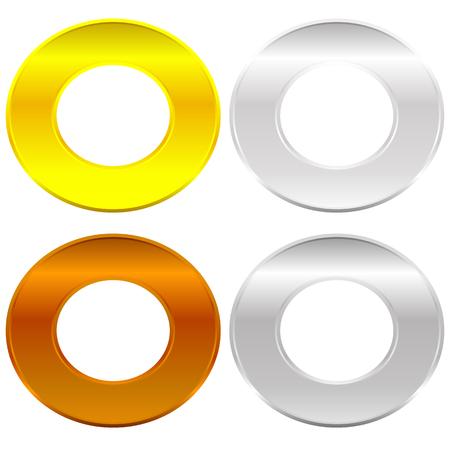 platinum: Gold, silver, bronze and platinum badges  butotns Illustration