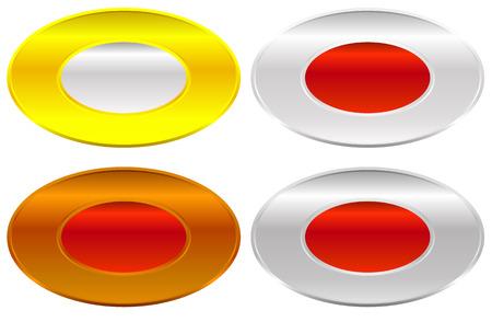 metalic sheet: Gold, silver, bronze and platinum badges  butotns Illustration