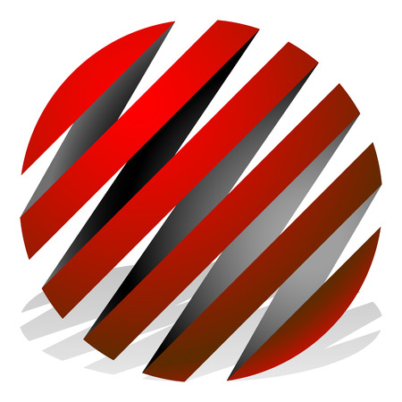 bulge: Striped 3d spheres, orbs. Sphere icons, abstract sphere  .