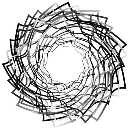 Spirally abstract geometric element - Artistic monochrome illustration Illustration