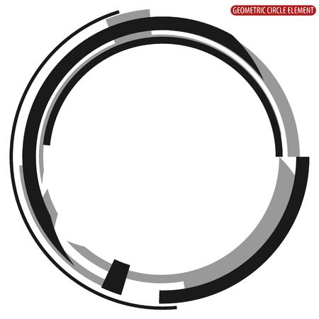幾何学的な円の要素。モノクロの円図形を抽象化します。