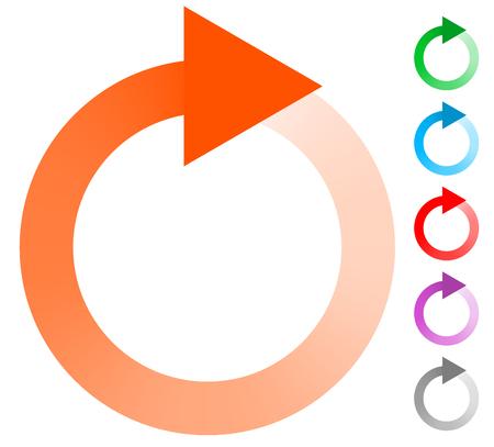 freccia circolare, cerchio freccia icona. Rotazione, riavviare, torsione, concetto girata icona / pulsante Vettoriali
