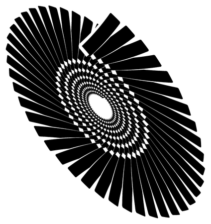 Circular geometric spiral, volute element. Rotating radial shape Illustration