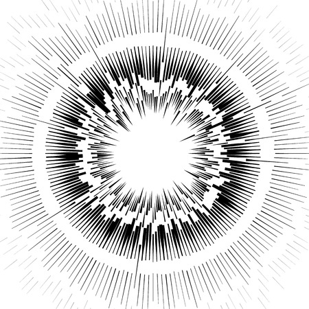 Abstract circular element, radial lines shape. Geometric element. Illustration