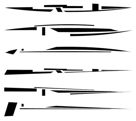 lineas horizontales: líneas futuristas dinámicos, rayas horizontales, formas geométricas. , elementos de la interfaz lineales Lineal Vectores