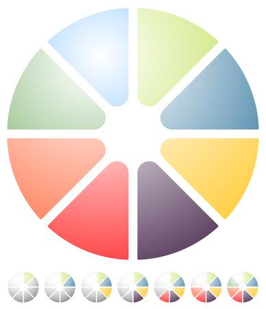 Circular preloader, progress indicator icon w 8 steps. Buffer symbol.