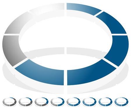 buffer: Circular preloader, progress indicator icon w 8 steps. Buffer symbol.
